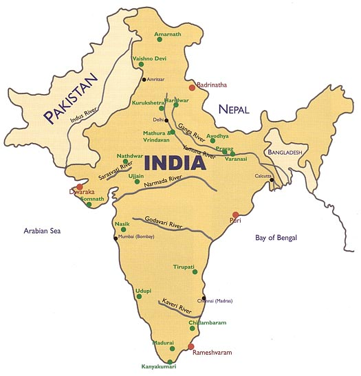 Ayodhya In India Map.Holy Places Heart Of Hinduism